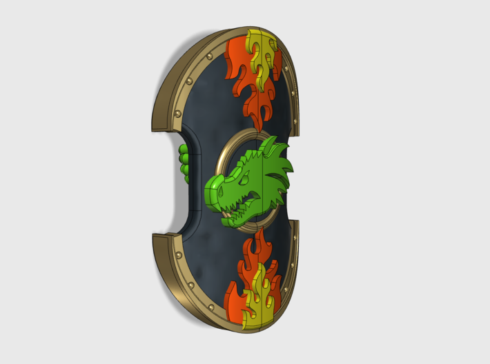 Dragon Head - Trojan Power Shields (L&R) 3d printed Hands are included.