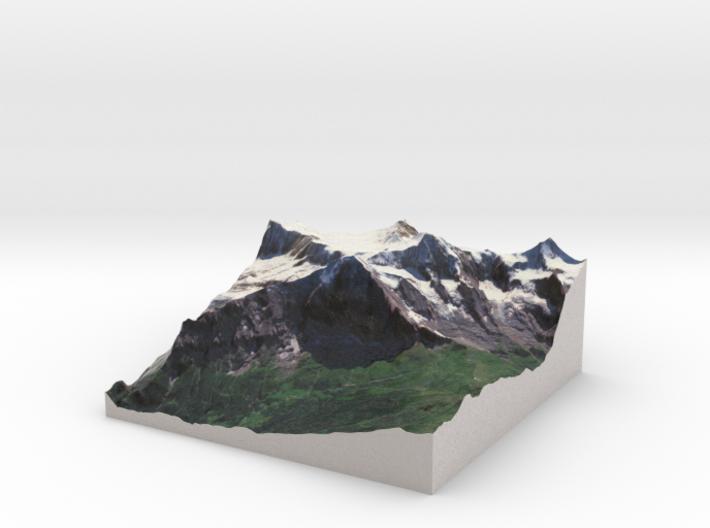 Eiger & Mönch Map, Swiss Alps 3d printed