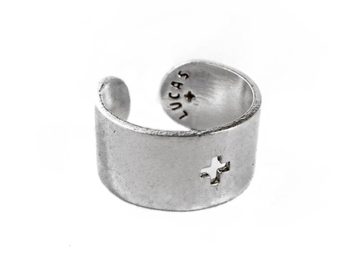 Adjustable Plus Ring 3d printed Polished Silver