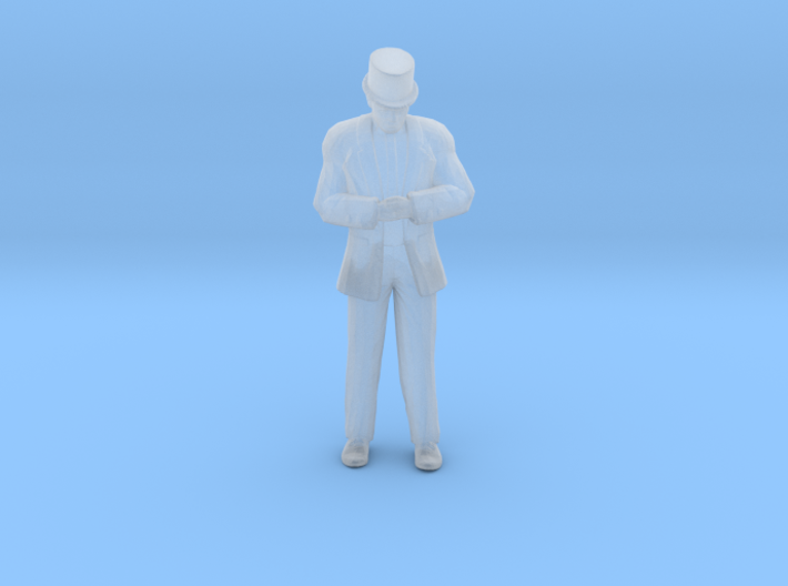 Man Standing Head Bowed Hands Clasped: Suit & Top 3d printed