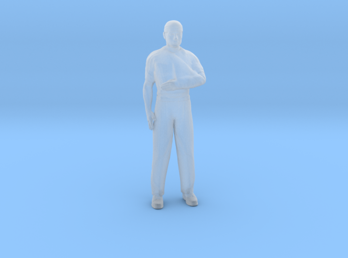 Man Standing Arm in Sling Head Bandaged 3d printed