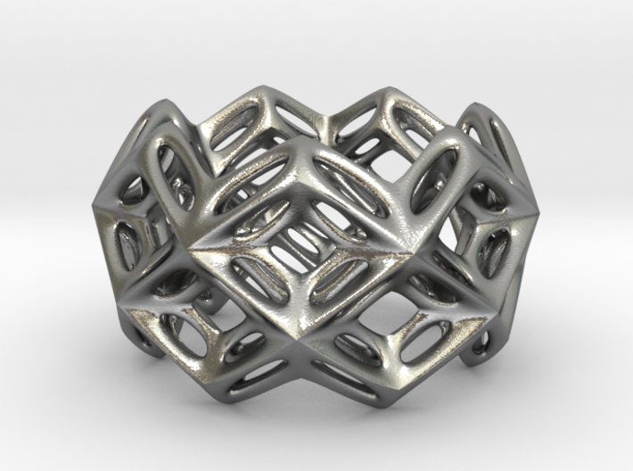 3D printed Silver Ring Lace Space Parametric Desig 3d printed