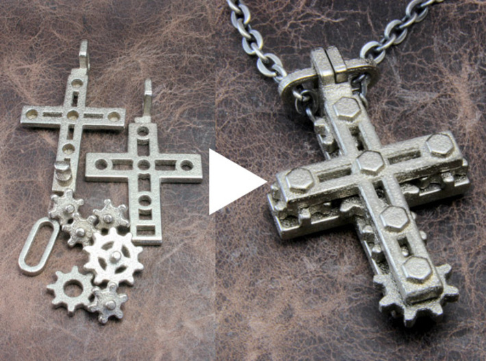"Rotate Pendant ""Cross Gear"" 3d printed Assembly is very simple."