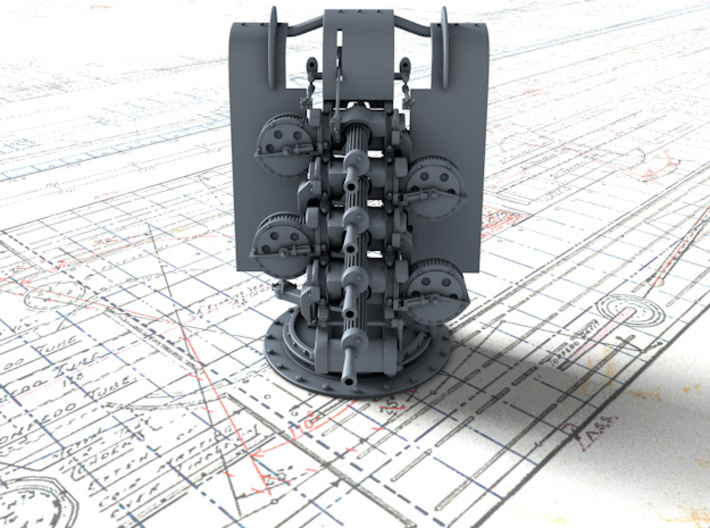 """1/48 Quad Vickers 0.50""""/62 (12.7 mm) MG MKIII x1 3d printed 3d render showing product detail"""