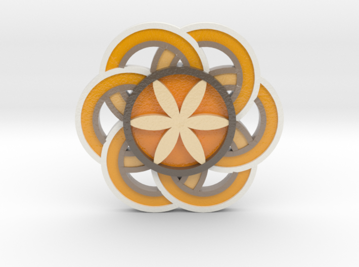 Crop circle Pendant 3 Flower of life colored 3d printed
