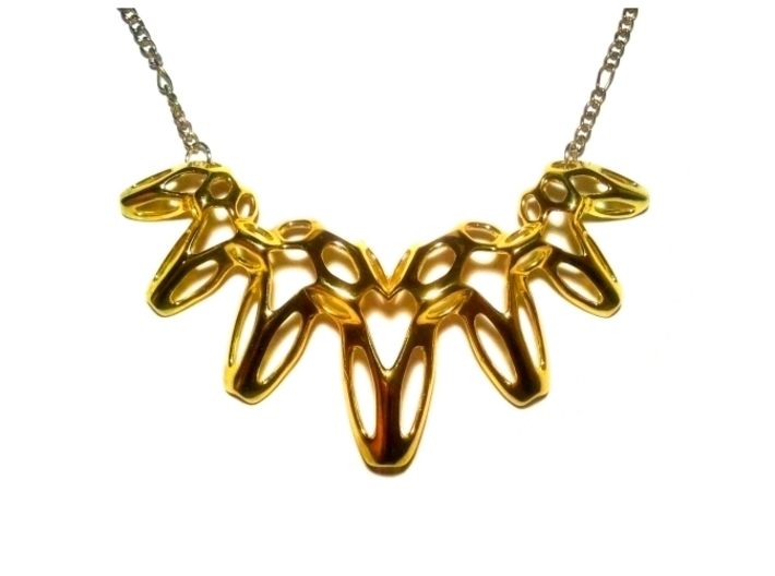 SharpSpikes Necklace 3d printed Polished Brass