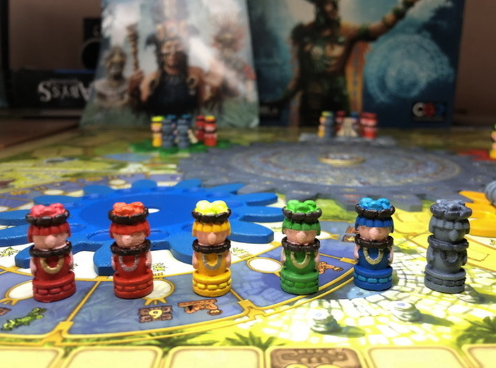 Mayan Worker Tokens (24-30 pcs) 3d printed Hand-painted models. Photo courtesy of user maciekrei (Rudeman on BGG)