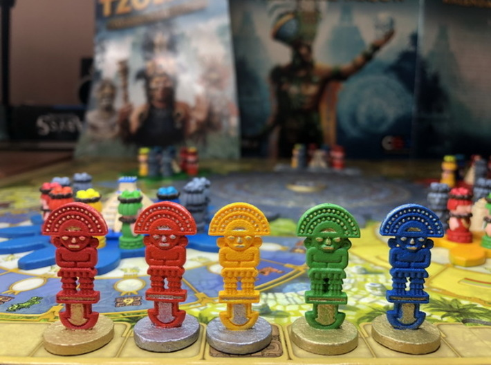 Mayan tech/temple & score tokens (32 - 40 pcs) 3d printed Hand-painted models. Photo courtesy of user maciekrei (Rudeman on BGG)