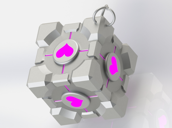 Weighted Companion Cube Keychain 3d printed