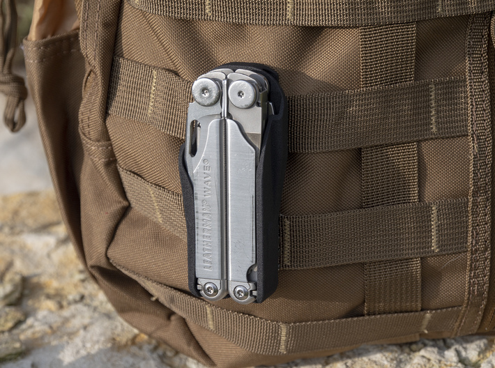 Leatherman Wave Holster, for Belt or PALS 3d printed Attaches to PADDS/MOLLE webbing.