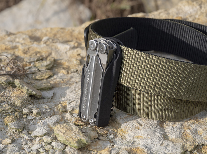 Leatherman Wave Holster, for Belt or PALS 3d printed Made to fit onto Air Force DLATS Belts (BDU)