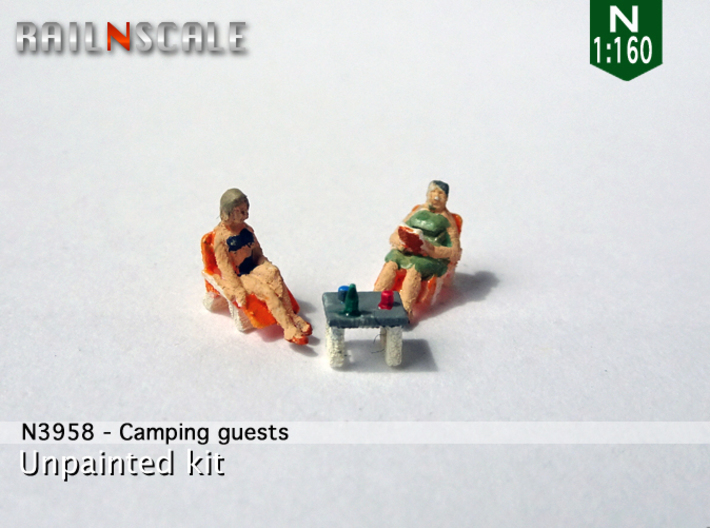 Camping guests and accessories - kit A (N 1:160) 3d printed