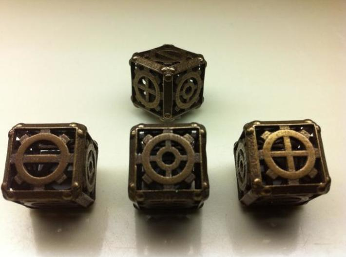 Steampunk d6 Fudge 4d6 Set 3d printed Antique Bronze Glossy