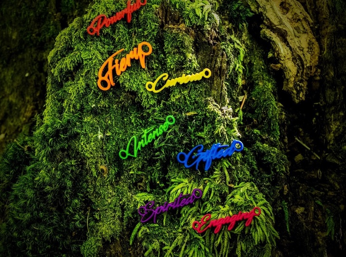 Intense Pendant - Vivid Colors 3d printed Custom words available