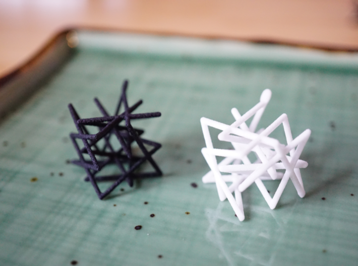 Knight's Tour Cube Earrings 3d printed Knight's Tour Cube Earrings in Black and White