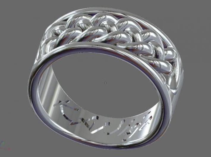 EHNisja 08, Ring Braided 3d printed Sterling Silver