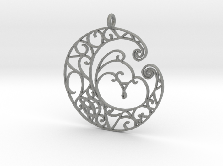 Celtic Wiccan Moon Pendant 3d printed