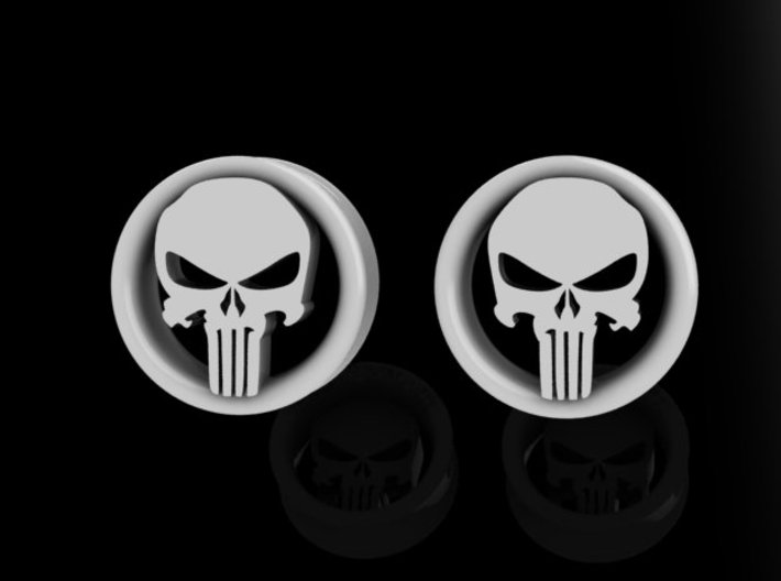 1 Inch Revenge Skull Plugs 3d printed Only available in Frosted Ultra Detail.