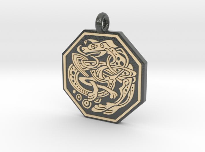 Celtic Dog Octagon Pendant 3d printed