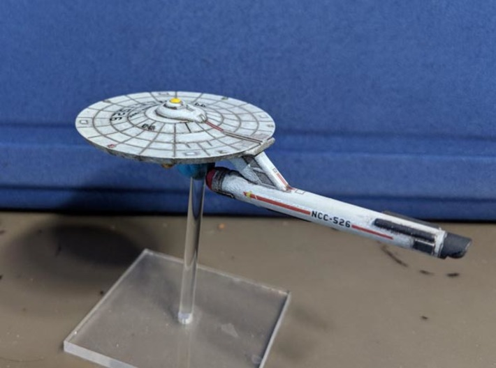 3788 Scale Federation Guided Weapons Destroyer WEM 3d printed Ship (Smooth Fine Detail Plastic) painted by a fan. Stand not included.
