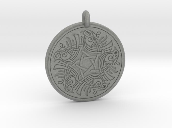 Birds Celtic Round Pendant 3d printed