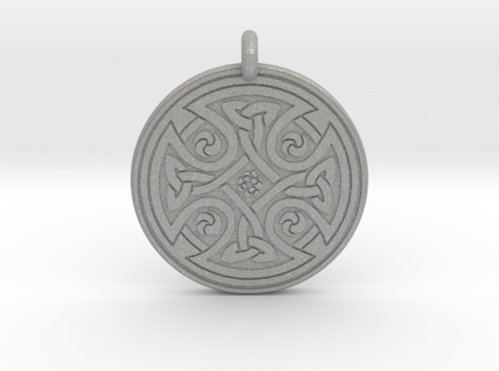 Celtic Cross - Round Pendant 3d printed