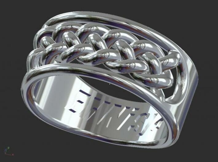 EHNisja 07, Ring Braided 3d printed Sterling Silver Render