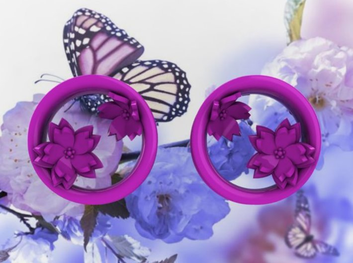 Cherry Blossom 1 Inch Tunnels 3d printed Matching pendant available.