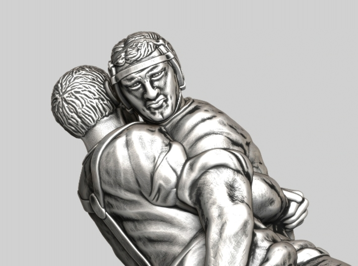 Swiss wrestling - 55mm high 3d printed Antique Silver