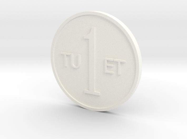 One Round Tuet Coin 3d printed