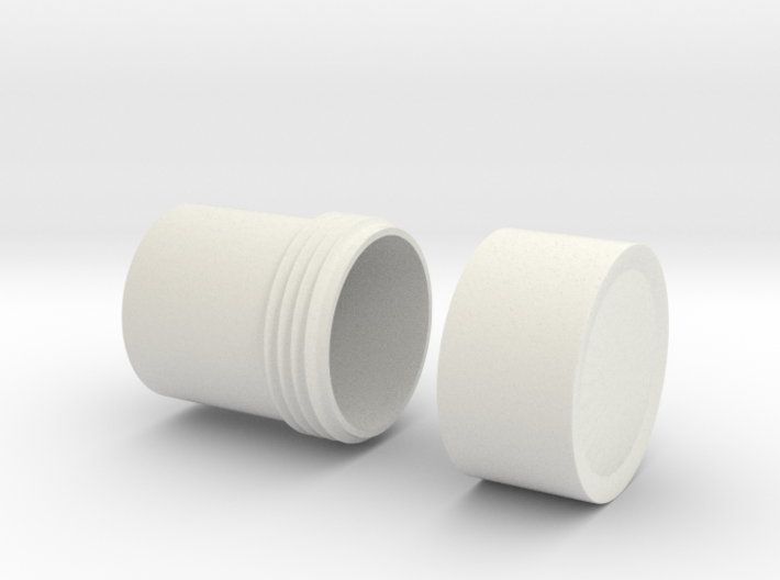 """Little Container with 3/4"""" threading & cap 3d printed"""