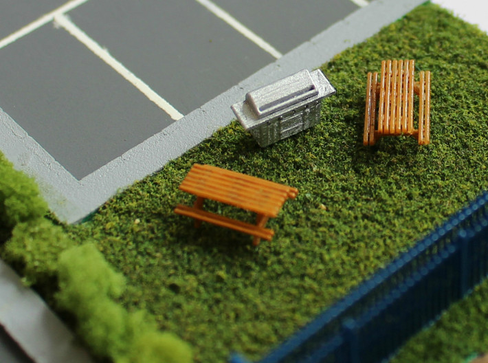 N Scale 2x Picnic Bench 3d printed
