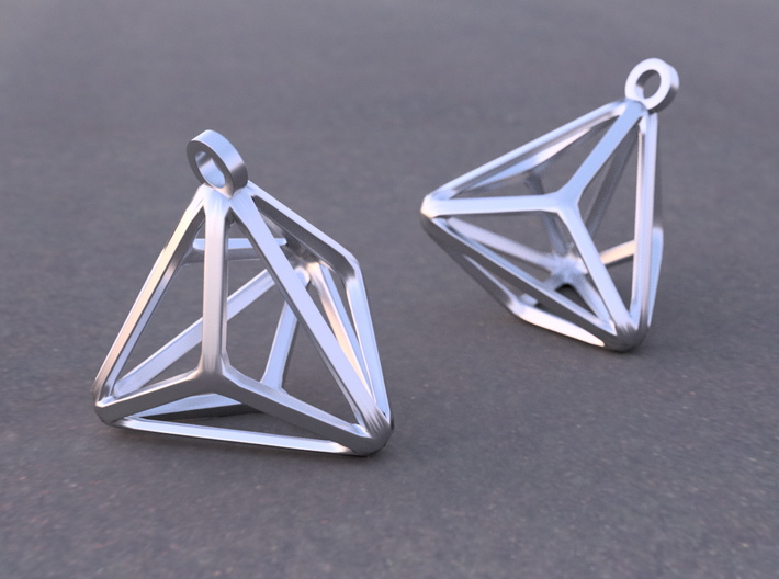 Triakis Tetrahedron Earrings 3d printed Example rendering of earrings in Rhodium