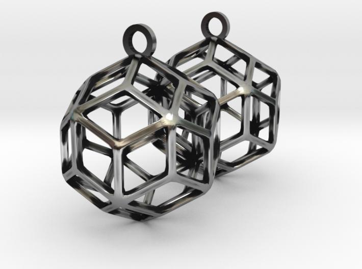 Rhombic Triacontahedron Earrings 3d printed