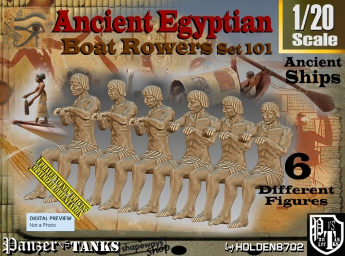 1/20 Ancient Egyptian Boat Rowers Set101 3d printed