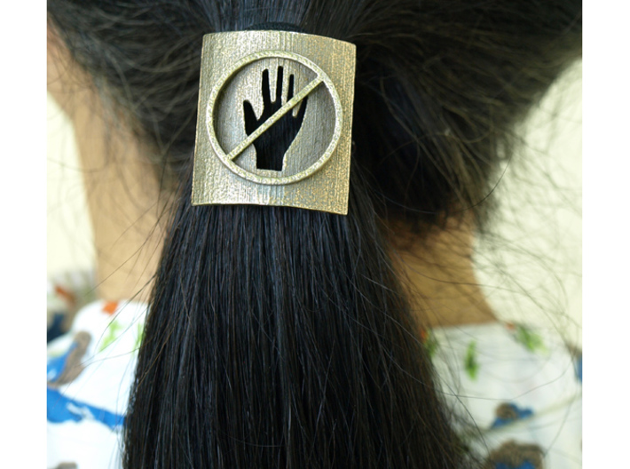 Don't Touch My Hair : No Touching! Hair Tie 3d printed Printed in Stainless Steel