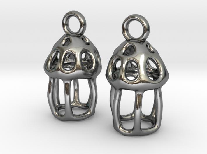 Tintinnid Dictyocysta Lepida Earrings 3d printed