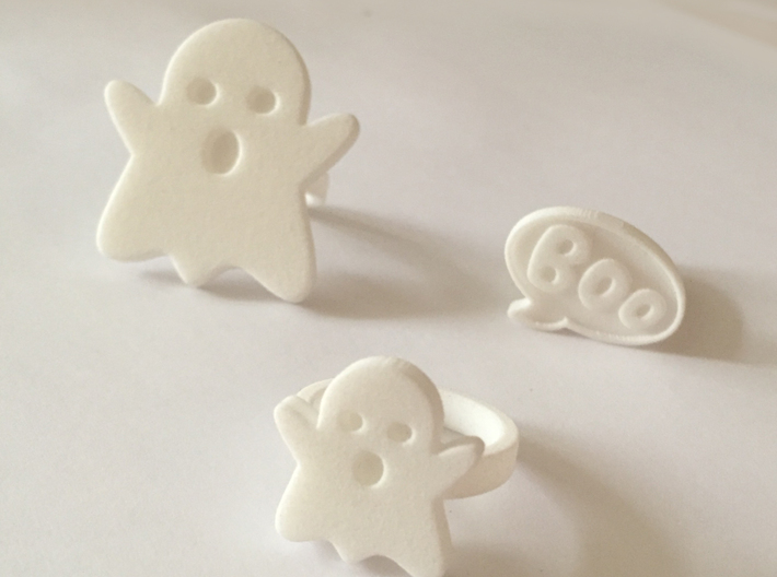 Small Ghost Ring 3d printed Shown with XL Ghost and Boo Rings