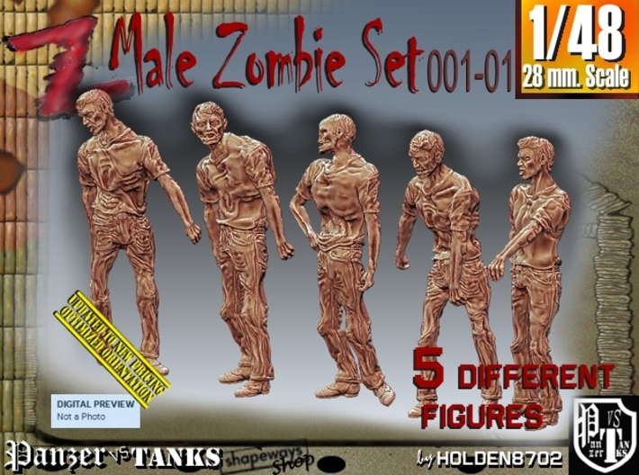 1/48 male zombie set001-01 3d printed