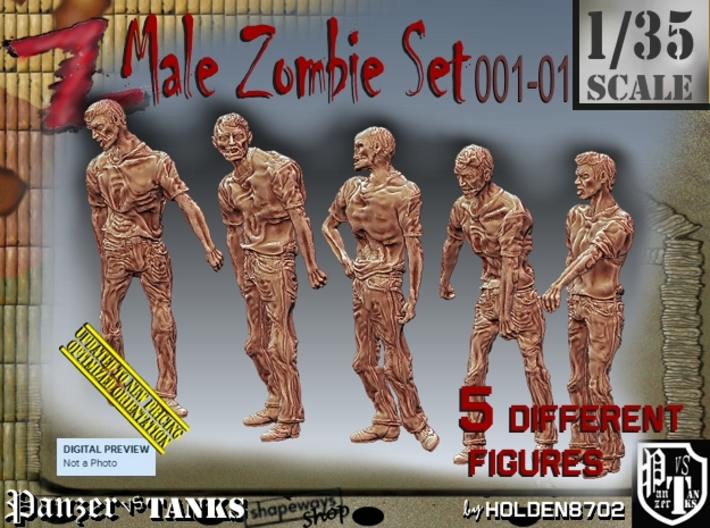 1/35 male zombie set001-01 3d printed