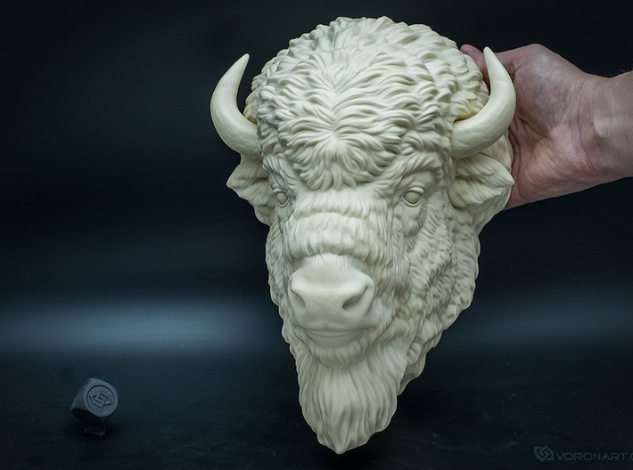 American Bison head. Wall-mounted sculpture 3d printed