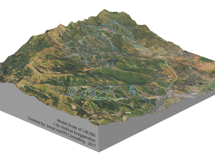 Park City Ski Map, Utah 3d printed