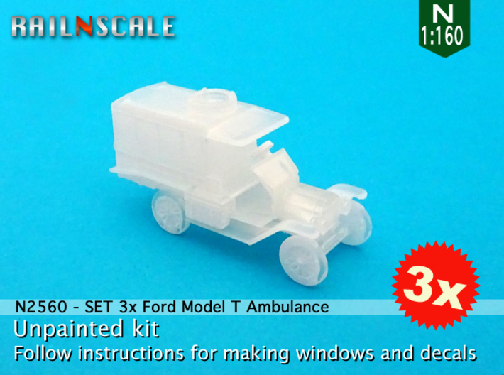 SET 3x Ford Model T Ambulance (N 1:160) 3d printed