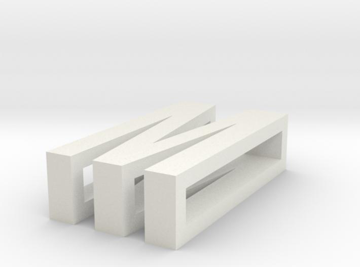 CHOKER SLIDE LETTER M 1⅛, 1¼, 1½, 1¾, 2 inch sizes 3d printed