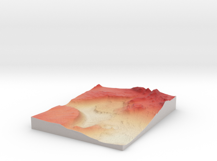 Mars Map: Light Outcrops in False Red 3d printed