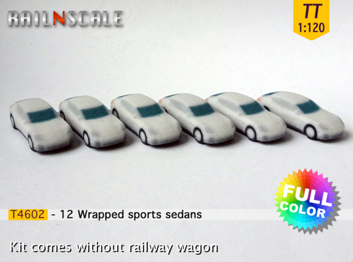 12 Wrapped sports sedans (TT 1:120) 3d printed