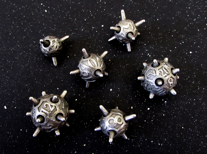 Sputnik Dice Set 3d printed In Stainless Steel