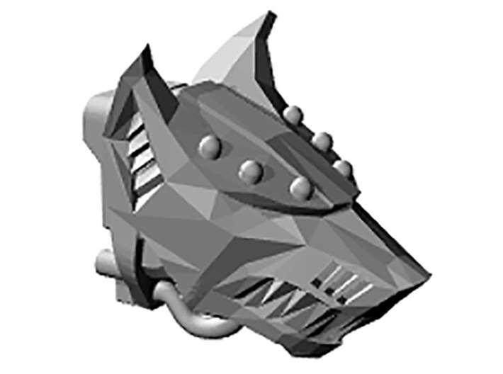 Wolf Head V2 for Armiger-scale Knight 3d printed