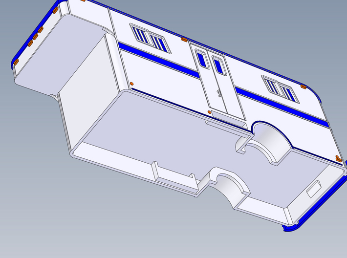 HO 1/87 Horsebox 1978 Imperatore 6 (simplified) 3d printed Flat underside to chassis, allowing customers to modify as they wish.