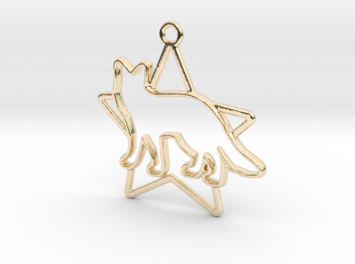 Fox & star intertwined Pendant 3d printed